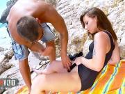 Деваху выебали на каменистом пляже